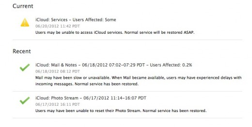 Screen Shot 2012 06 20 at 12.29.28 PM 520x263 Apple restores iCloud and iMessage services after over an hour of downtime