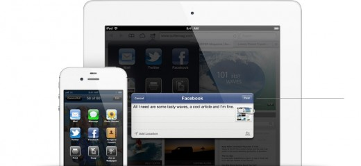 facebook gallery status 520x239 Apple announces deep Facebook integration with iOS 6, including single sign on, sharing movies and TV shows