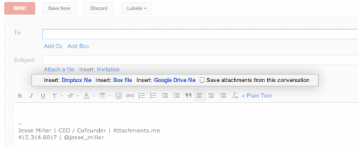 insert options 520x213 Gmail search tool Attachments.me rolls out Google Drive integration