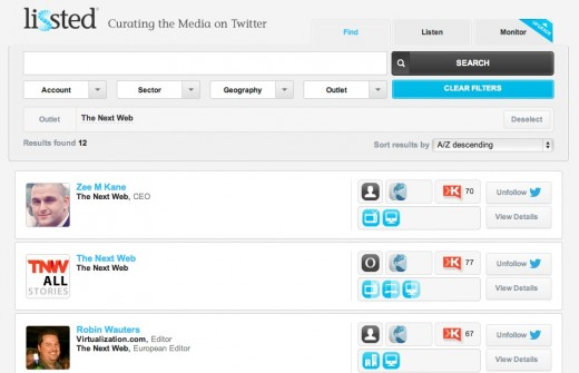 lissted 520x335 Lissted helps you find journalists and monitor the media on Twitter