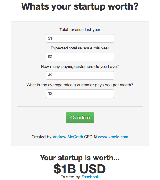 startupcalc Whats your startup worth? This amusing calculator nails it