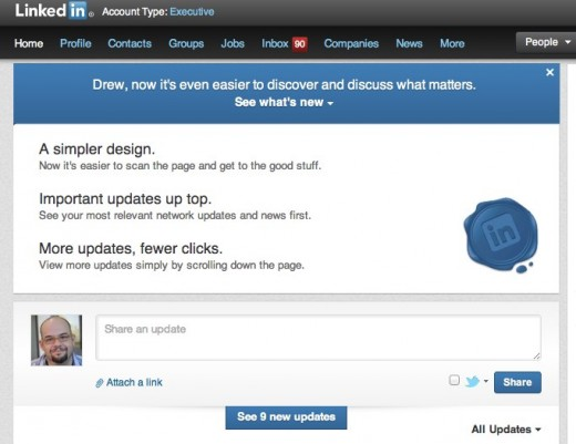 9 Welcome Drew LinkedIn 1 520x401 The LinkedIn cleanup continues: Announces new, more streamlined homepage design