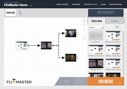Flixmaster demo screenshot 520x365 FlixMaster opens to the public, letting anyone create massively interactive video