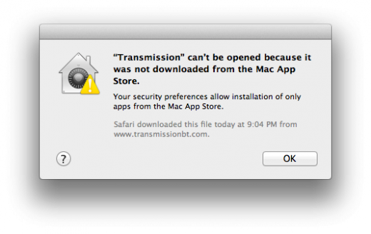 Gatekeeper Error MAS Only IDd App 520x328 TNW Review: OS X 10.8 Mountain Lion