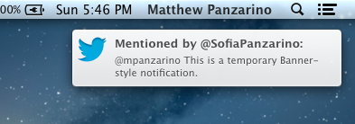 Notification Banner Style TNW Review: OS X 10.8 Mountain Lion