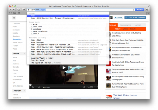Safari Smart Search Field 520x362 TNW Review: OS X 10.8 Mountain Lion