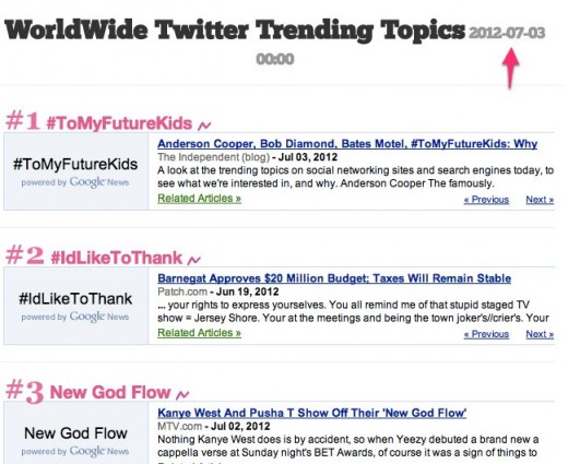 ShowMeTrend Trending Topics Database WorldWide Trending Topics 2012 07 03 00 00 1 520x425 ShowMeTrend is a great way to keep yourself updated on trending topics from Twitter