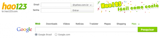 baidubrazil 520x124 Chinese Web titan Baidu dips into Brazil with Portuguese version of Hao123 directory