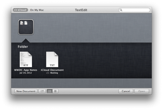 iCloud Doc Library Folders 520x353 TNW Review: OS X 10.8 Mountain Lion