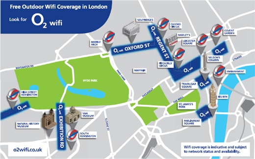 Free O2 Wifi for London Landmarks – Map of London Landmarks