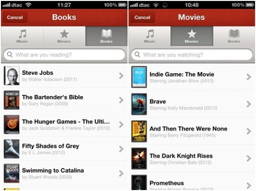 path sharing 520x389 Path 2.5 brings book/movie sharing, enhanced videos and photos and a Facebook like nudge