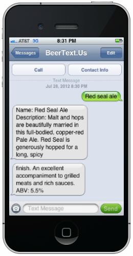 screenshot Whats the 411 on that beer youre drinking? Ask BeerText for the details