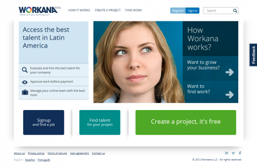 workana homepage 520x339 Workana hopes to introduce Latin America to online freelancing
