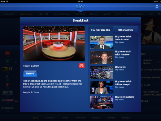IMG 0109 520x390 Sky overhauls its Sky+ iPad app, adds remote control and planning functionality, TV guides and more