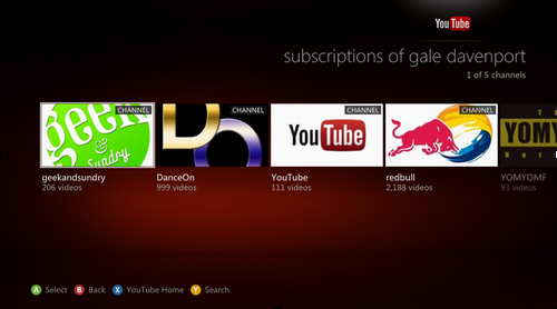 Screen Shot 2012 08 28 at 7.16.54 AM YouTube updates its Xbox app: 5X faster and has channels with official music videos