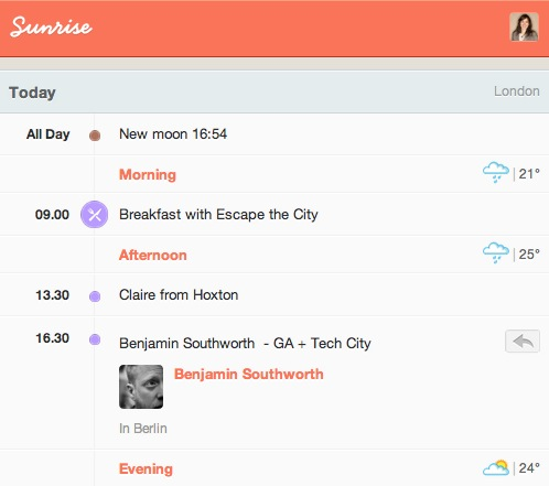 Screen shot 2012 08 31 at 6.09.47 PM Foursquare designers launch Sunrise, the new must have daily email