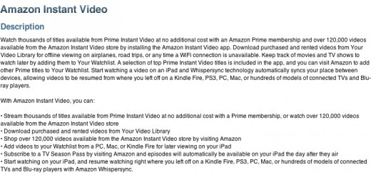 amazon instant description 520x245 Amazon Instant Video lands on the iPad, lets users download content for offline viewing