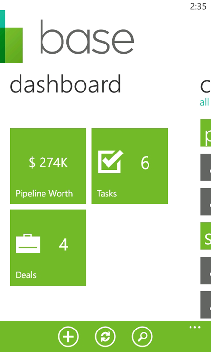 base crm wp7 dashboard Base jumps onto the Windows Phone Marketplace with a slick CRM app