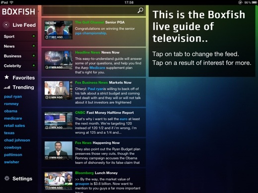 boxfish Boxfish Live Guide for iPad: Real time search for whats being discussed on TV right now