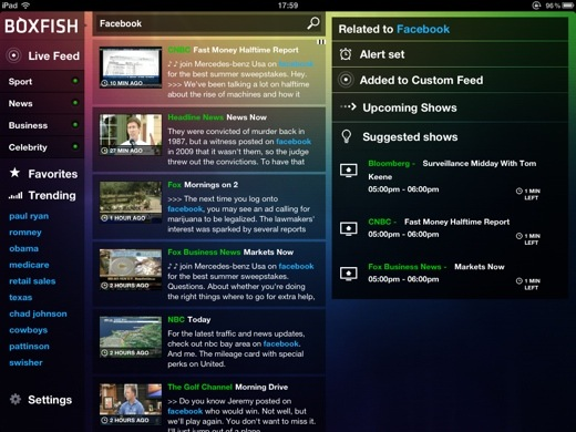 boxfish2 Boxfish Live Guide for iPad: Real time search for whats being discussed on TV right now