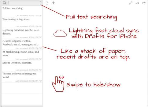 drafts ipad Drafts notetaking app lands on iPad, gets version 2.0 iPhone update