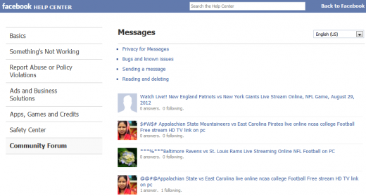 facebook spam 520x279 Facebooks official help forum flooded with spam, again