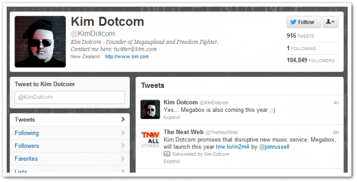 kimdotcomtweet 520x265 Kim Dotcom promises that disruptive new music service, Megabox, will launch this year