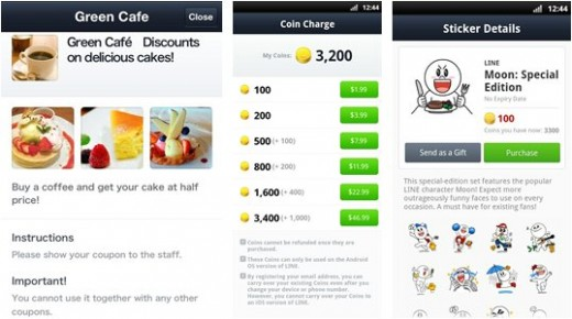 line coins offers 520x290 Messaging app Lines virtual currency and coupon service go global