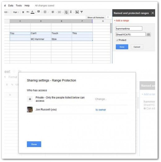 spreadsheet protection vert1 520x524 Google updates Spreadsheets with data locking, enhanced search and more