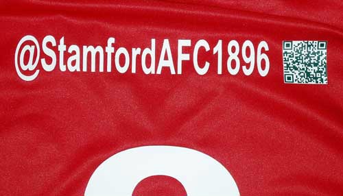 stam English football club Stamford AFC will include clubs Twitter handle and QR code on players shirts