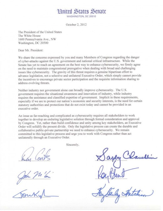 100212 to Obama on Cyber EO 520x672 Senate GOP calls on the President to do nothing with cybersecurity