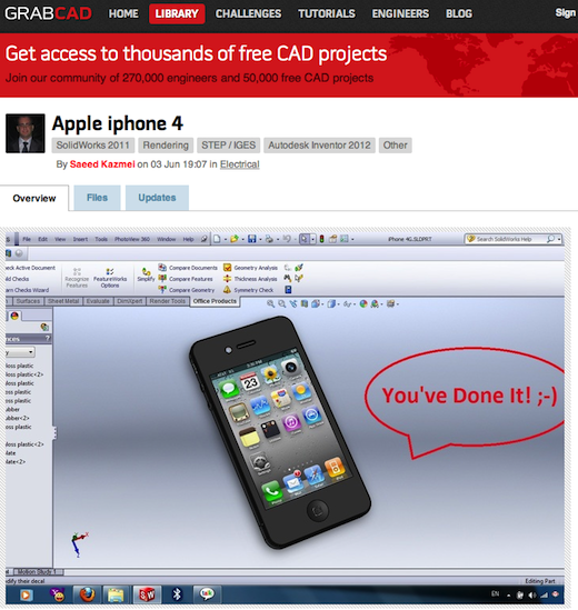Apple iphone 4 SolidWorks STEP IGES Autodesk Inventor Other 3D CAD model GrabCAD 094943 Engineering community GrabCAD lands $8.15m from CRV, Yammer founder David Sacks and others
