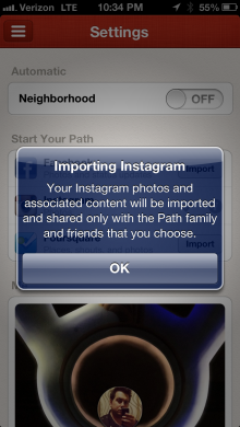Path import 2 220x390 Path update brings Facebook, Instagram and Foursquare import feature to existing users