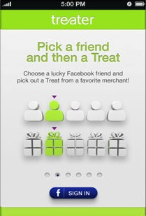Treater iPhone App Pick a Friend Social gifting startup Treater launches mobile apps to let you treat friends to coffee, beer and more