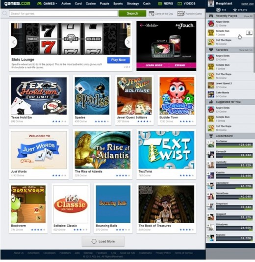 a5 520x533 AOL relaunches Games.com with a library of 5,000 titles, designed with a mobile first mentality