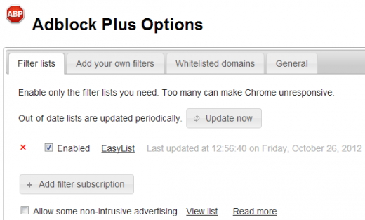 apo options 520x313 Adblock Plus for Chrome now unblocks certain ads by default; Heres how to block them again