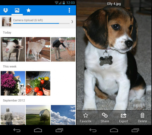 dropbox android 520x462 Dropbox for Android adds Photos tab for all your uploaded photos and videos