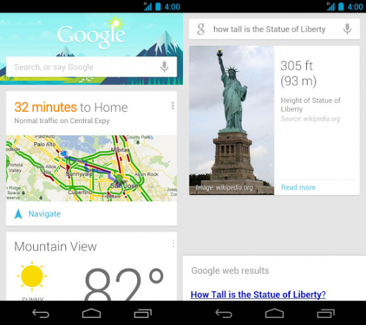 google search android 520x462 Google speeds up Search on Android Jelly Bean devices, expands Google Now to include Gmail