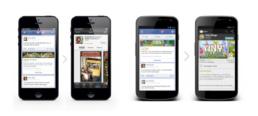 iPhone Android 520x235 Facebook launches its mobile app install ads to all developers today, touts 50% higher CTR and 10x reach