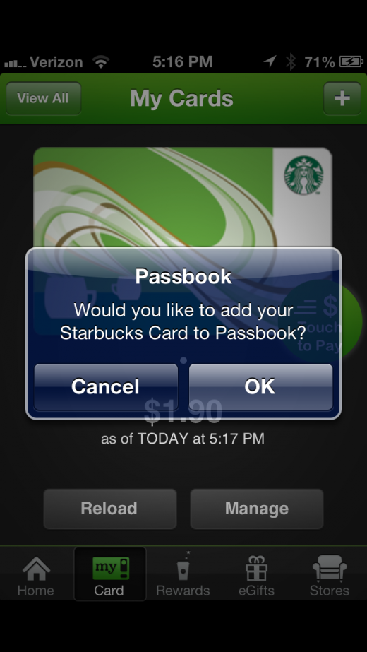 image2 520x923 Starbucks app for iPhone adds Apple Passbook support, and it nails it