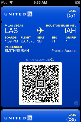 United Airlines app for iPhone gets Apple Passbook support for boarding passes