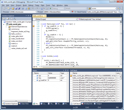 nacl vs 520x462 Google releases Native Client debugger, Visual Studio add in to help developers focus on coding