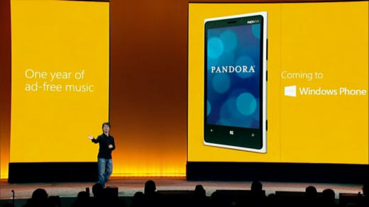 pandora wp8 520x292 Pandora coming to Windows Phone 8 in 2013, including a full year of free music with no ads