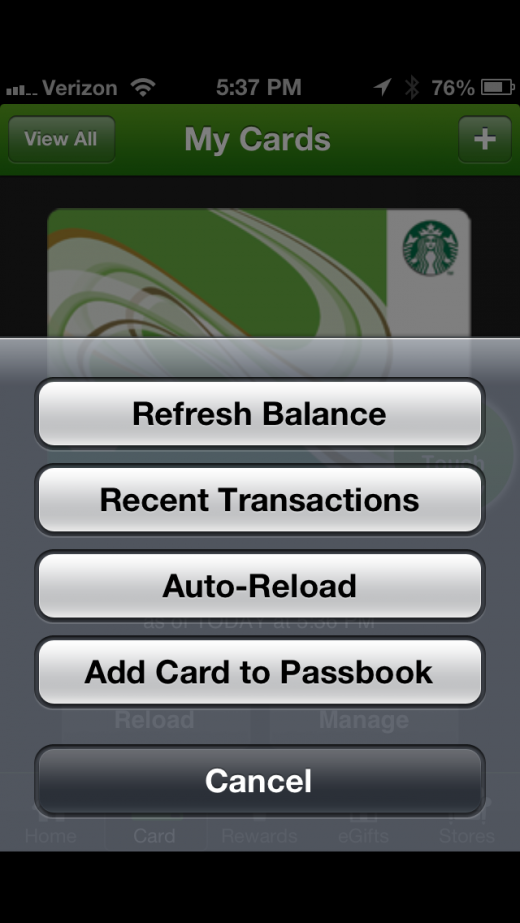 photo 14 520x923 Starbucks app for iPhone adds Apple Passbook support, and it nails it
