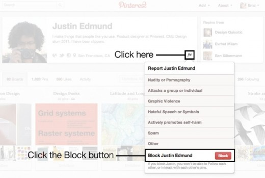 pinterest block 520x349 Pinterest launches user blocking and reporting, adds more granular email settings