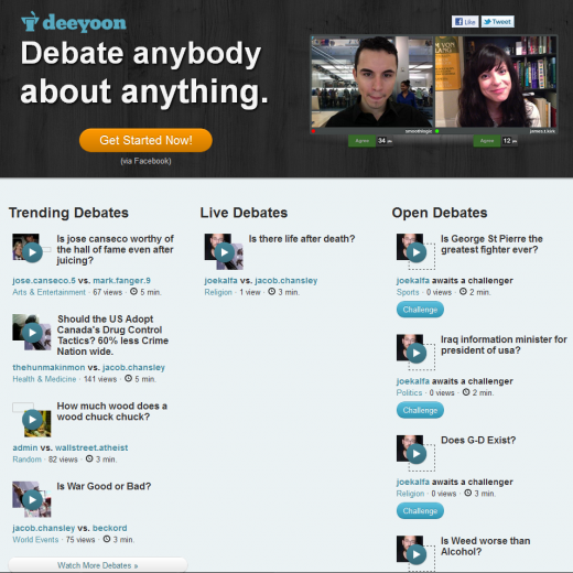 screen2 520x520 Deeyoon: The real time debate network that sends your arguments straight to video