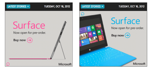 surface 520x231 Microsoft pushes Surface banner ads suggesting preorders may open soon