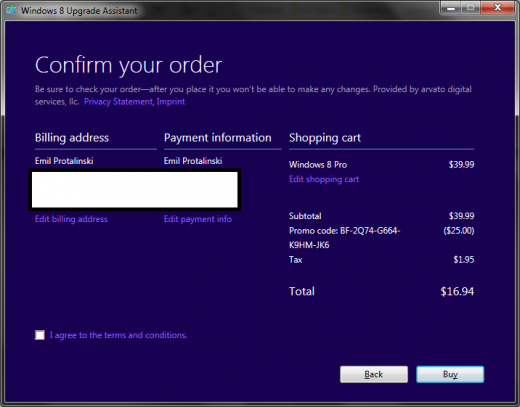 windows 8 loophole 15 520x407 Microsoft site loophole lets anyone buy Windows 8 Pro for just $15