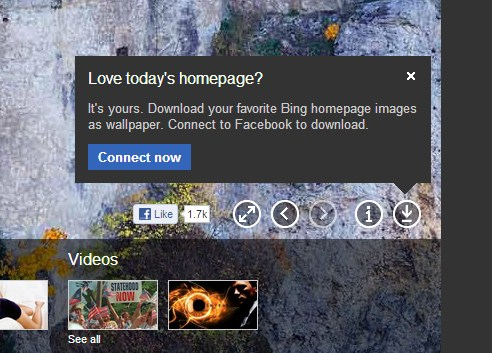 2012 11 08 10h23 25 Calling its look iconic, Microsoft adds a download button to Bing, allowing users to snag the daily image