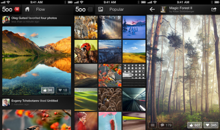 500px iphone 730x432 500px launches on the iPhone and updates its iPad app with an improved design, iOS 6 support